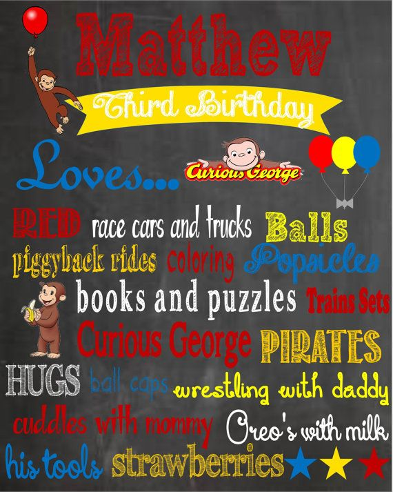 Printable Curious George Birthday by PintSizePartyDesigns on Etsy, $15.00
