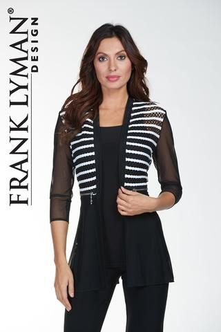 Frank Lyman 2017. Stunning black/white jacket with sheer sleeves and silver zipper detail. Proudly Made in Canada