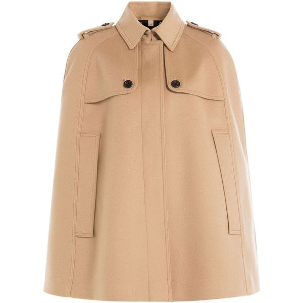 Burberry London Wool Cape (1 857 AUD) ❤ liked on Polyvore featuring outerwear, camel, woolen cape, wool cape, cape coat, camel cape coats and burberry cape