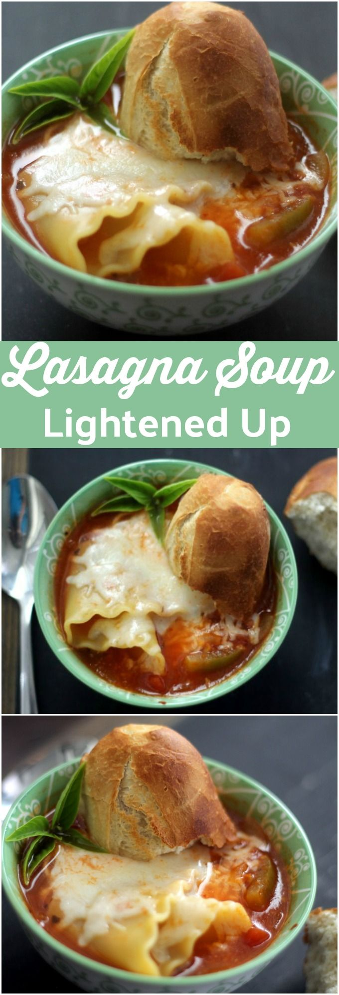 Skinny Lasagna Soup features all your classic comforts of traditional lasagna, but it's lightened up and made into a heartwarming soup!