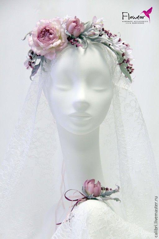 """Купить Комплект """"Emmanuel"""" - венок на голову и бутоньерка. Цветы из шелка. - бордовый, пыльно-розовый"""