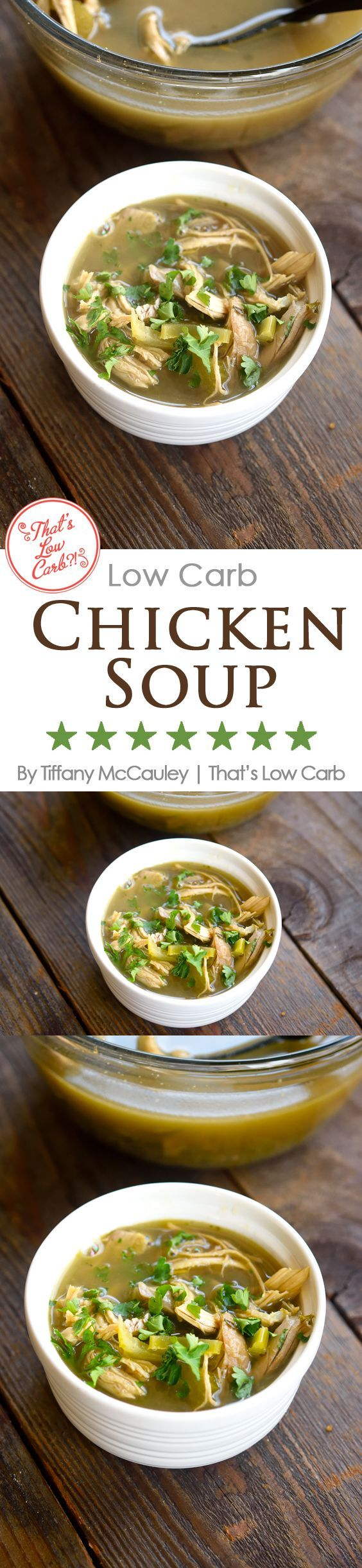A delicious, low carb chicken soup you can make from a rotisserie chicken. Easy! Give it a try for dinner tonight! ~ www.thatslowcarb.com