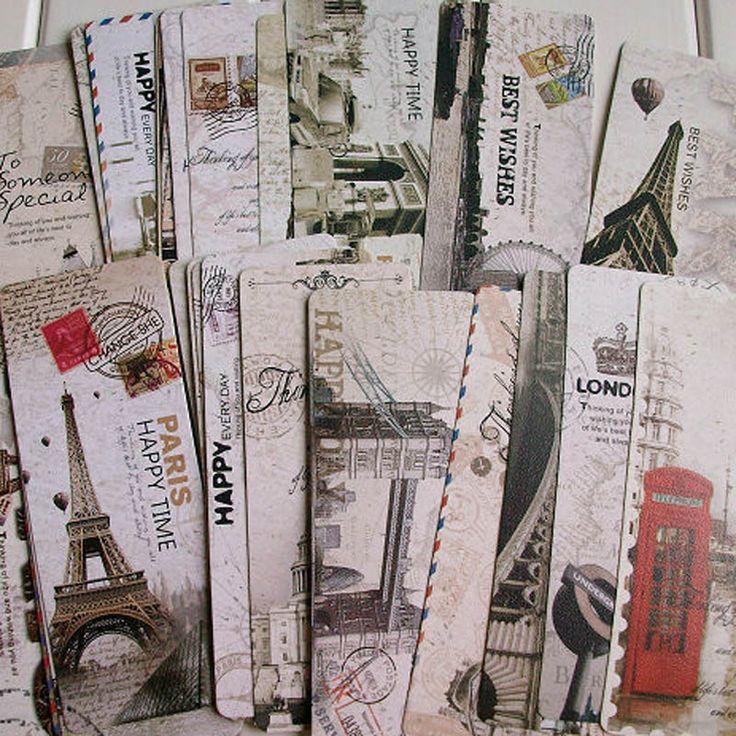 Shiping libre 30 unids Diferentes Escenas de Europa Francia París Torre Eiffel de La Vendimia Bookmark Set Exquisito estilo de la moda Europea