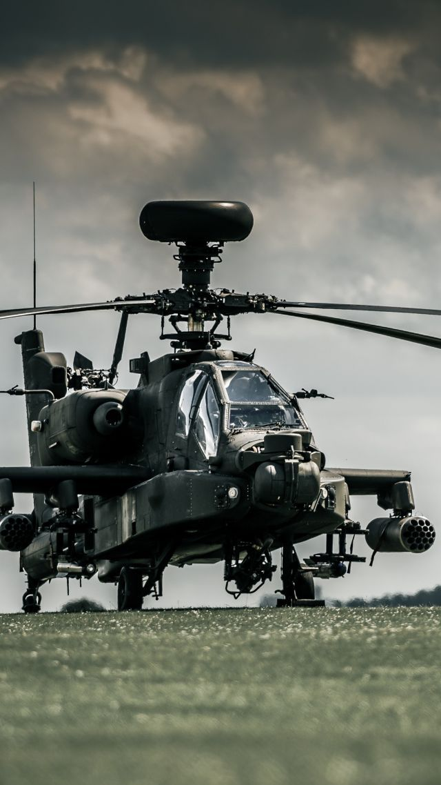 Boeing AH-64D Apache, attack helicopter, Royal Netherlands Air Force, dark sky (vertical)