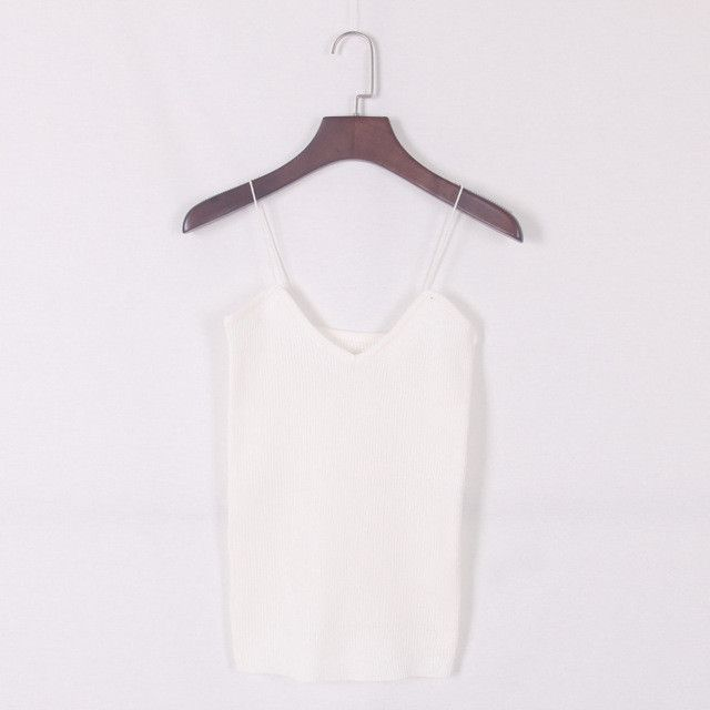 New knitted Tank Tops Women Camisole Vest simple Stretchable Ladies V Neck Slim Sexy Strappy Camis Tops
