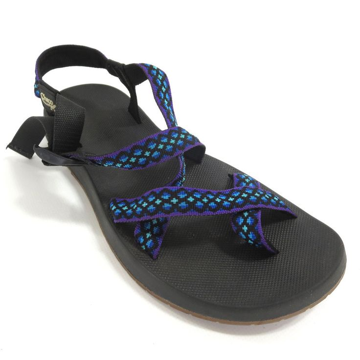 Chaco 10 Z/2 Yampa Blue Purple Toe Loop Mens Water Sports Vibram Sandals 1990s #Chaco #SportSandals
