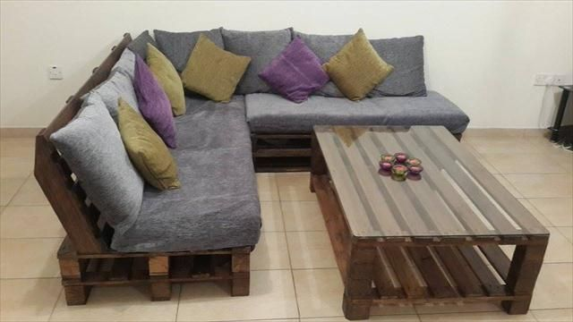 DIY Pallet L-Shaped Sofa - Coffee Table for Living Room   99 Pallets
