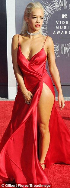 Riveting in red: Bailey Buntain, Rita Ora, Demi Lovato and Cher Lloyd heated up the carpet...