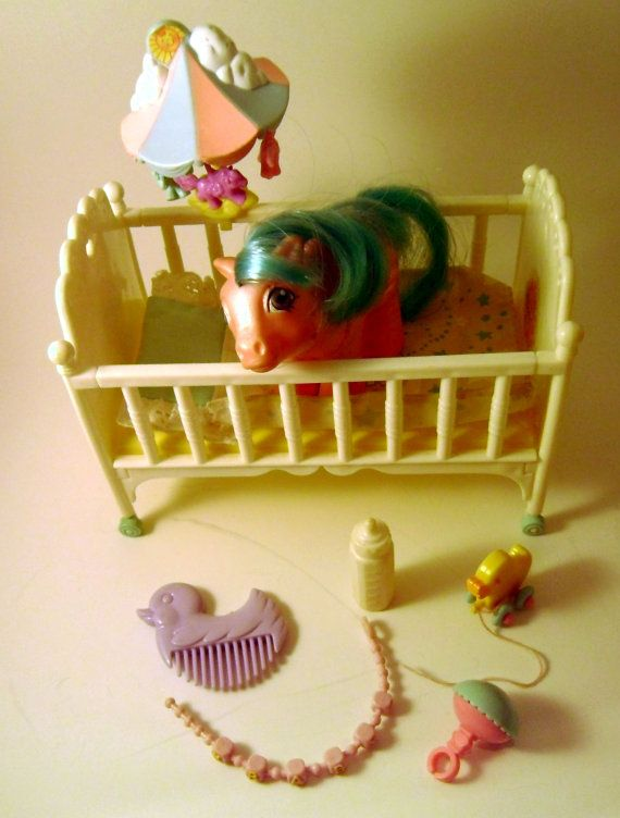 My Little Pony 1988 Sweet Dreams Pony Crib.. I STILL have mine, the little pony house and everything!