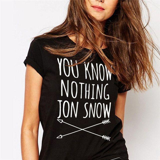 CWLSP Women T-shirt You Know Nothing Jon Snow Printed T shirt 2017 Summer Games Of Thrones Women T Shirt Camisetas Mujer QA927