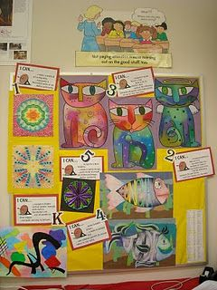 Learning Targets for each grade level with examples outside of art teacher's room.  Thank you, Sara!