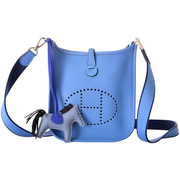 hermes blue leather handbag evelyne