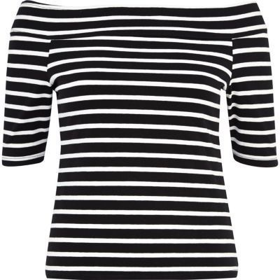 River Island Black and white stripe bardot top