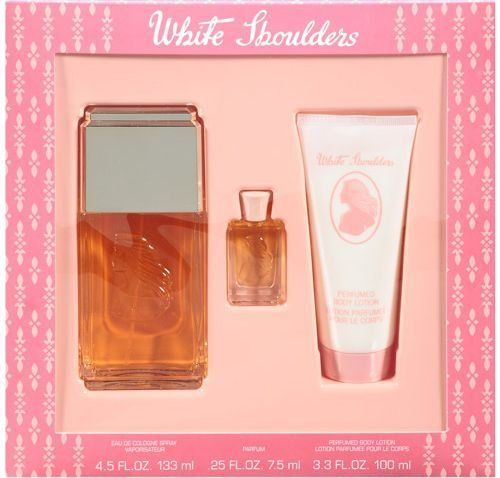 White Shoulders Fragrance Gift Set: Eau De Cologne Spray 4.5 Oz + Body Lotion 3.3 Oz + Pure Perfume 1/4 Oz by Parfums Intl. $21.08. MADE IN USA. FRAGRANCE GIFT SET. FOR WOMEN. White Shoulders Cologne 4.5ozWhite Shoulders MiniWhite Shoulders Body Lotion 3.3oz. Save 58% Off!
