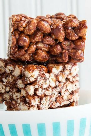 Chocolatey, chewy, Old Fashioned Puffed Wheat Squares recipe!