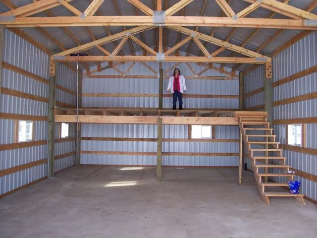 Wood stove pole barn google search land ho pinterest for Barn shed with loft plans