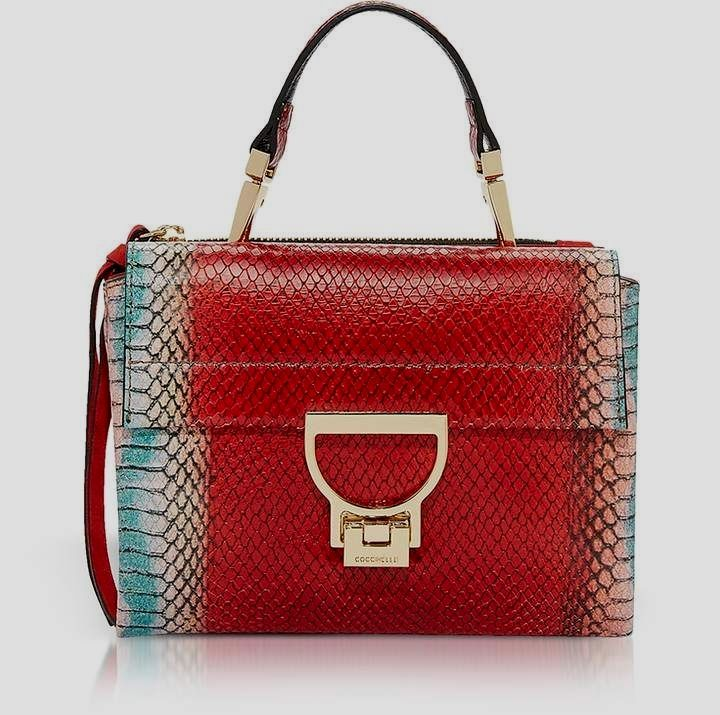 e89f5ca72eb Coccinelle Arlettis Red Reptile Printed  Leather Shoulder Bag soft leather   handbags