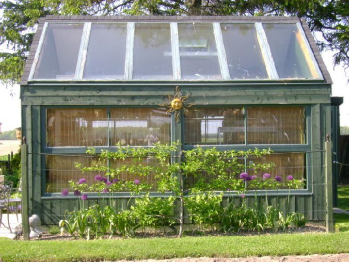 Garden sheds from repurposed materials salvaged window for Reclaimed window greenhouse
