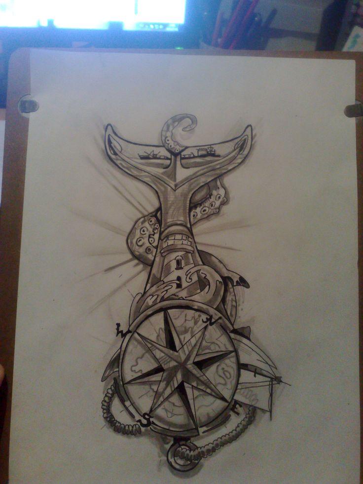 compass,anchor,octopus