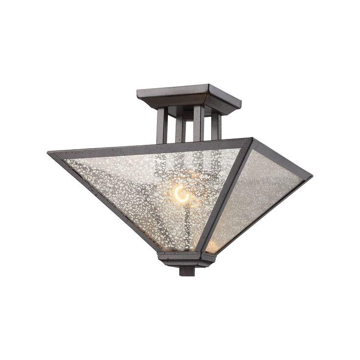 Elk Plano 2 Light Semi Flush In Iron Rust With Mercury Glass Semi Flush item number 70274/2