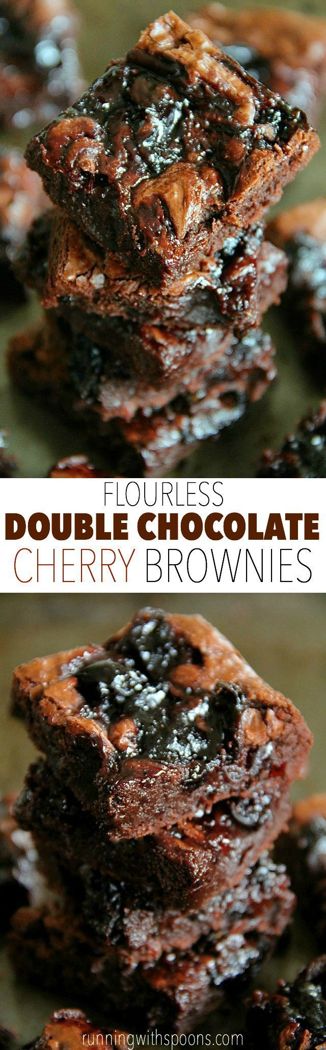 Flourless Double Chocolate Cherry Brownies -- rich and fudgy brownies that are grain-free and made without beans!    runningwithspoons... #glutenfree #chocolate #brownies