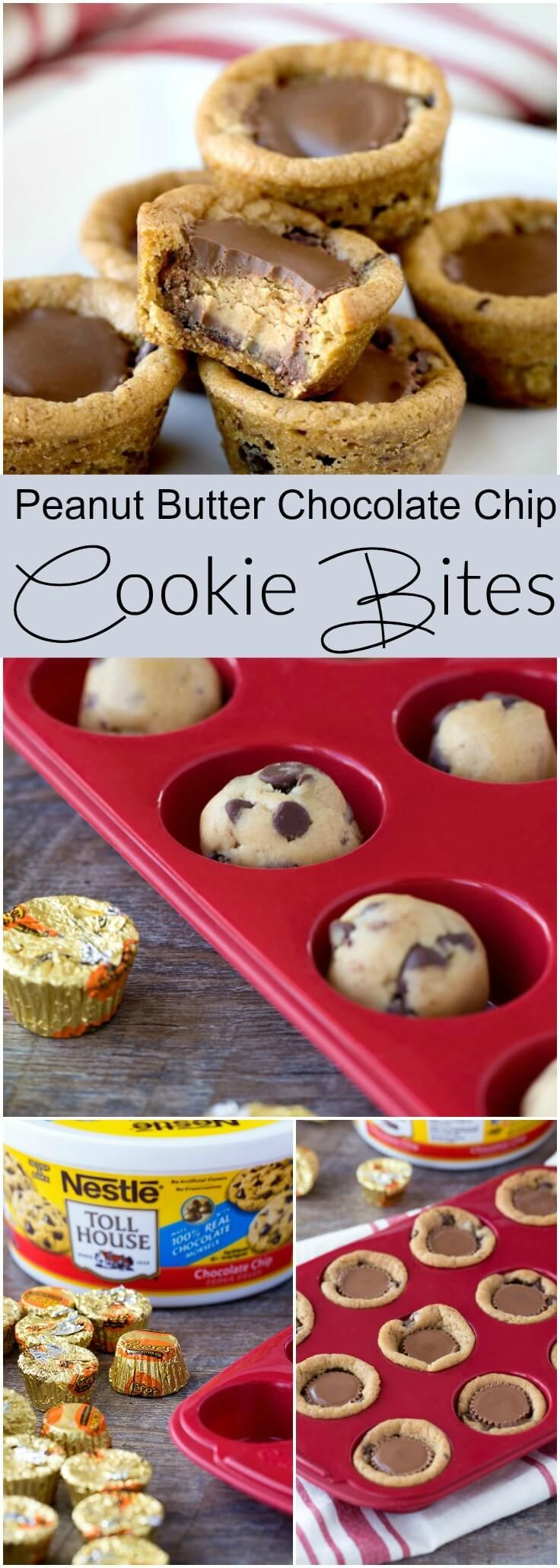 Reese's Chocolate Chip Cookie Bites! You only need TWO ingredients and they take 10 minutes start to finish. World's easiest dessert!