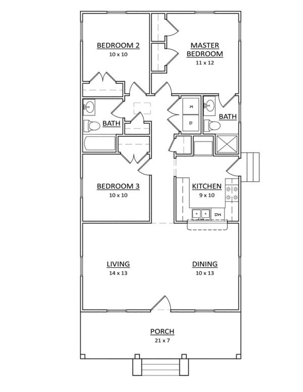 Craftsman Style House Plan 3 Beds 2 Baths 1080 Sq Ft Plan 936 22 Craftsman Style House Plans Floor Plan Design Craftsman Floor Plans