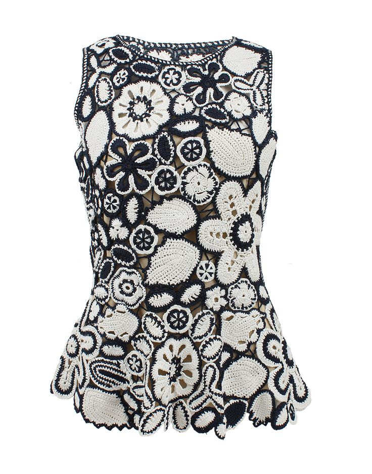 OSCAR DE LA RENTA Sleeveless Jewelneck Crochet Peplum Top