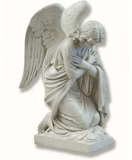 28 Inch Kneeling Adoration Angel Statue - With Crossed-8188