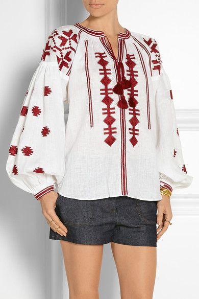 Vita Kin style white red Vyshyvanka BLOUSE Linen embroidery. size XS-XXL
