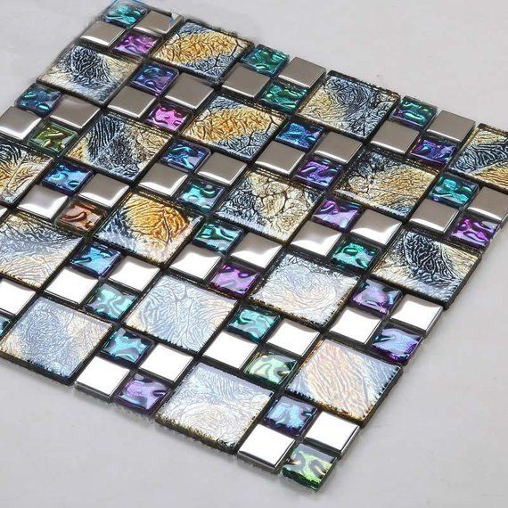 Multicolor Tile Backsplash D1391 11 6 X11 6 Per Sheet Multicolored Mix Silver Coated Glass Mosaic Glossy Tile Bathroom Wall Floor Tiles Glass Mosaic Bathroom Mosaic Bathroom Tile Mosaic Bathroom