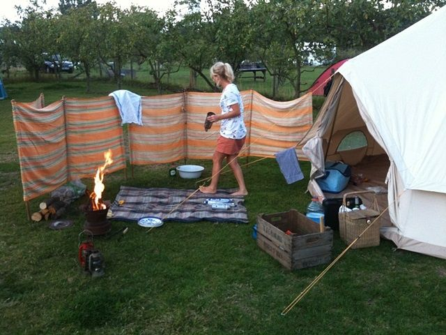 Awesome idea for a roll up private fence for camping, just in case you have nosy neighbors.