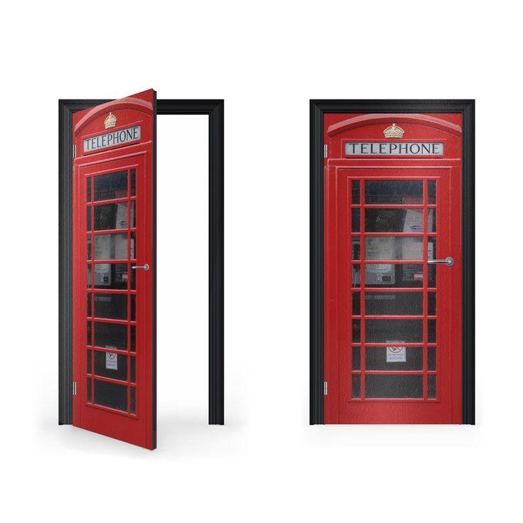 British Red Telephone Box Vinyl Sticker for Door
