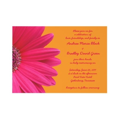 Bright orange and hot pink gerber daisy wedding invitation. The text is easy to personalize on your own. #weddings #invitations