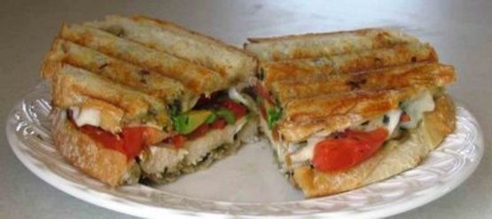 Grilled Chicken Pesto Panini - the chicken needs to marinade for 1 hour before cooking