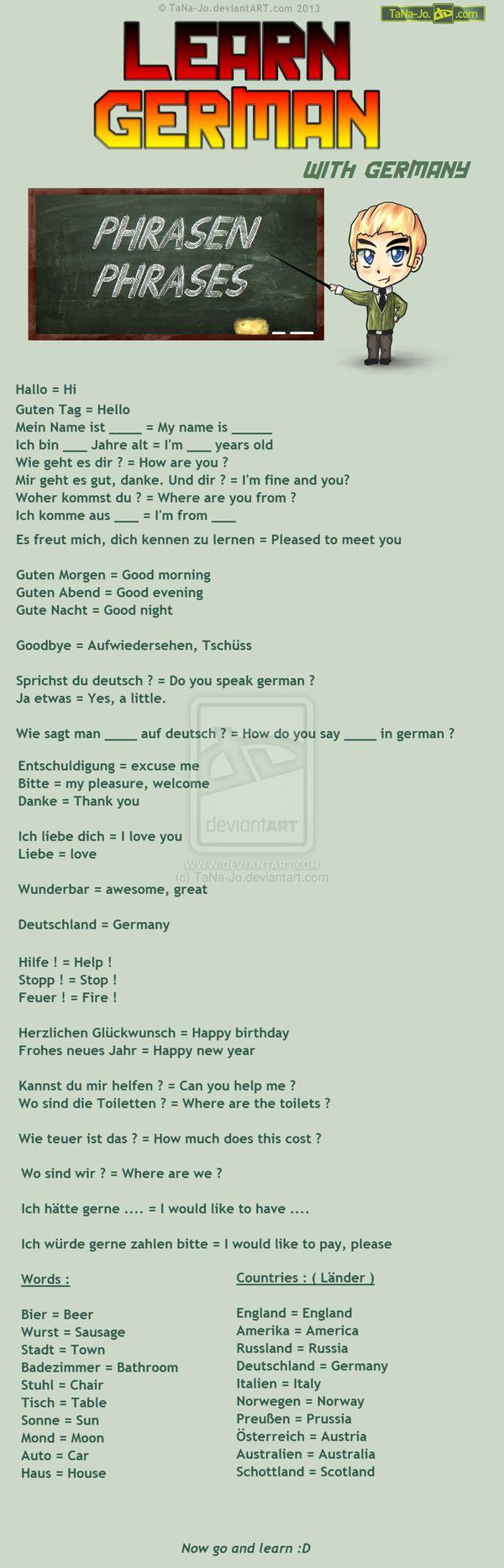 Learn german - Phrases by TaNa-Jo