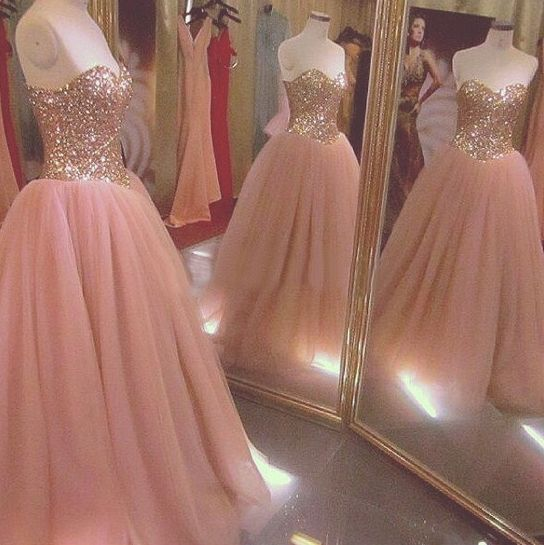 Blush Pink Prom Dresses,Ball Gown Prom Dress,Tulle