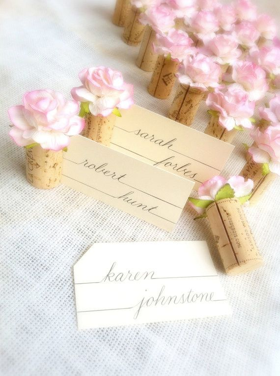 Single Cork Place Card Holder with a Classic Handmade Rose