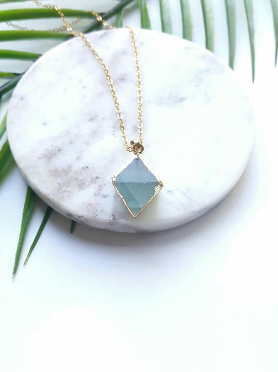 Raw crystal  necklace-24k gold plated crystal pendant healing