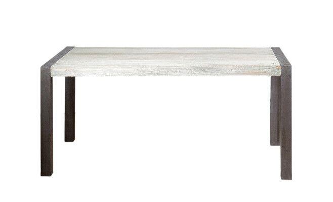Mesa de comedor de acero y madera gris claro 160 x 80 x 77 cm