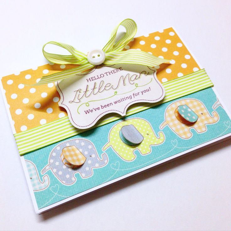 Baby boy card with cute little elephants! Made by Pammypumpkin!