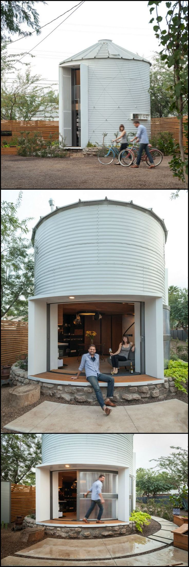 While driving though Kansas, architect Christoph Kaiser, noticed a dismantled, 1955 era grain silo...  View the transformation of an abandoned grain silo to a comfortable home for two here: http://architecture.ideas2live4.com/2015/08/08/from-grain-silo-to-a-comfortable-home/   The idea was to create a comfortable, affordable and sustainable home from a very compact space with the lowest possible carbon footprint!