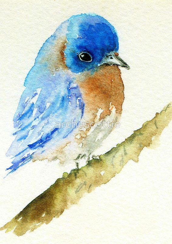Bluebird Watercolour by archyscottie