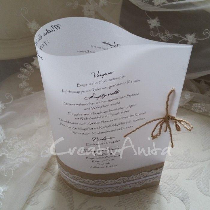 Eine Große Auswahl An Individuell Gestalteten Einladungskarten Zur Hochzeit  Finden Sie Bei Creativanita.de Darunter Auch Wundervolle Menükarten In  Herzform.