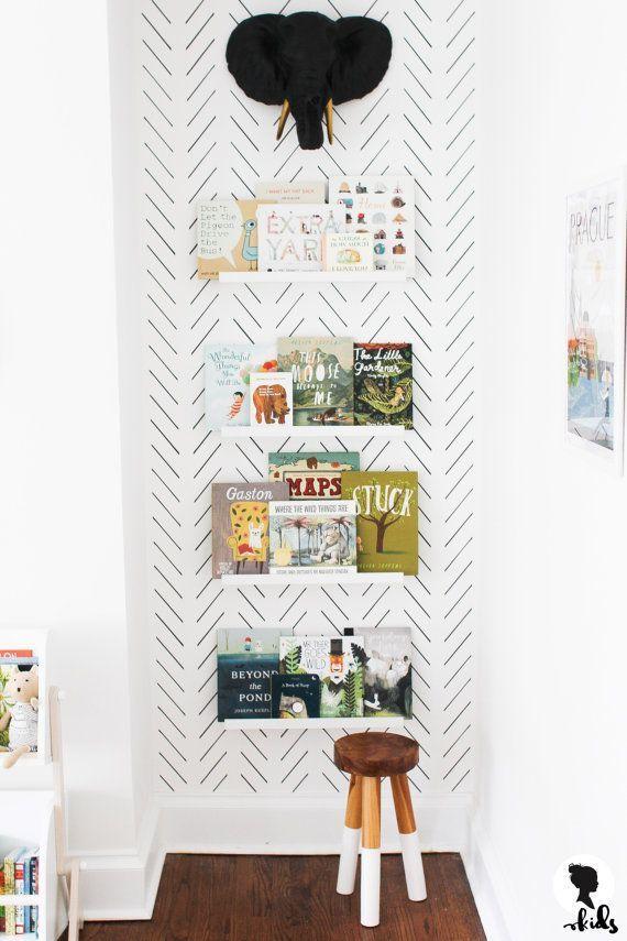 Schwarze Fischgrät-Tapete, skandinavisches Kinderzimmer Wandgemälde / traditionelle oder abnehmbare Tapete M009-1