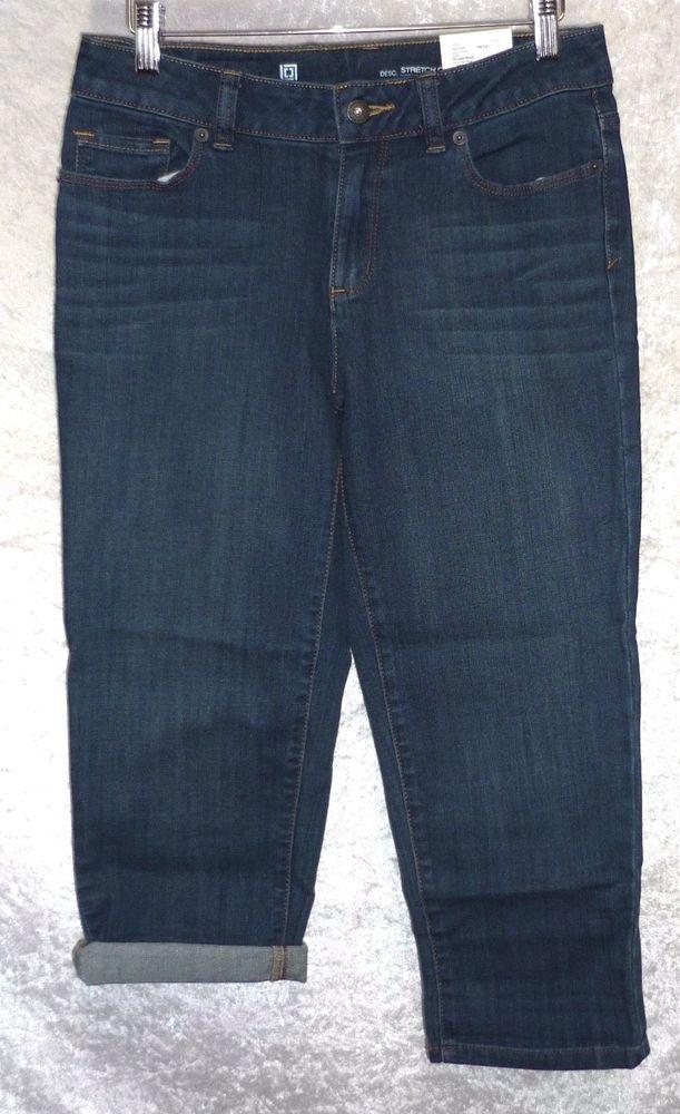 liz Claiborne Womens Cropped Jeans Capri cuffed stretch denim petite size 4P NEW 14.99 https://www.ebay.com/itm/232549503345