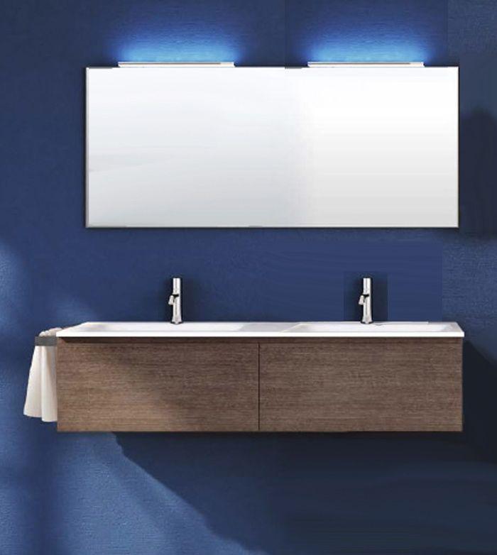 Mobile Bagno da 140cm doppio lavabo con specchiera e lampada Led (vari ...