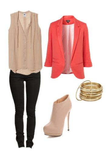 Bright coral blazer with beige top and black skinnies!