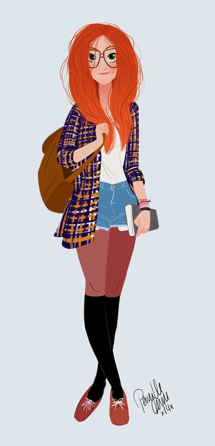 """Girl with Red Hair"" - an intricate vector illustration created in Adobe Illustrator with wonderfully realistic hair."