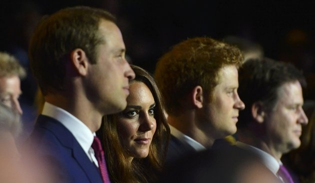 Britain's Prince William,  his wife Catherine, Duchess of Cambridge and Prince Harry watch the opening ceremony of the London 2012 Olympic Games at the Olympic Stadium.Royal Families, Duchess Of Cambridge, London 2012, 2012 Olympics, Open Ceremonies, Olympics Open, Prince William, Olympics 2012, London Olympics